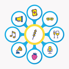 Vector illustration of 9 event icons colored line. Editable set of playing cards, music note, strawberry and other icon elements.