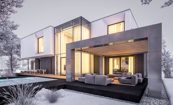 3d rendering of modern cozy house with garage and garden. Cool winter evening with cozy warm light from windows. For sale or rent with beautiful white spruce on background