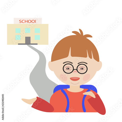 A child with Down syndrome  Simple vector illustration  Print for