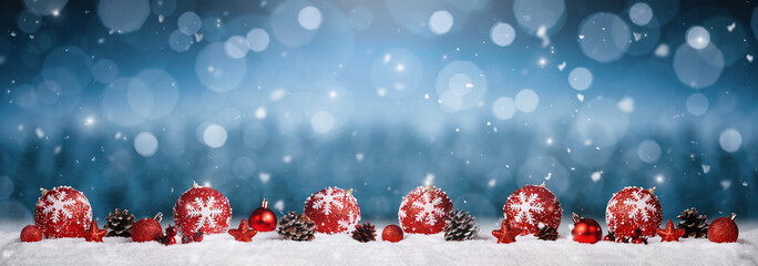 Panoramic christmas ornaments in the snow over winter background