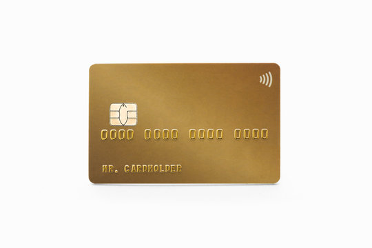 Gold credit card isolated on white background