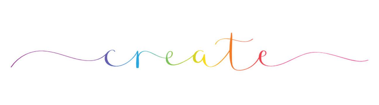 CREATE rainbow brush calligraphy banner