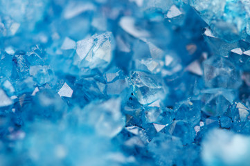 Beautiful texture of Blue crystals. mineral its blurred natural background. Winter Beautiful background.Macro closeup