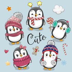 Set of cute cartoon Christmas Penguins