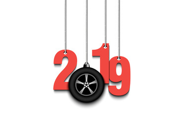2019 New Year and wheel auto hanging on strings