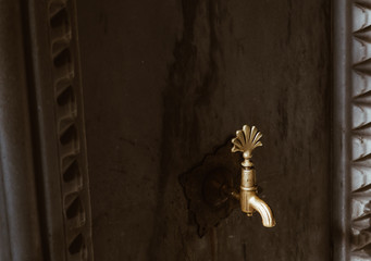 Water valve for Sacred ablution religion muslim on istanbul close up fountain, turkey.