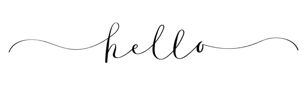 HELLO brush calligraphy banner