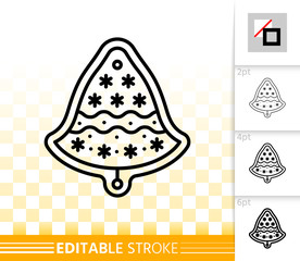 Gingerbread Cookie bell black line vector icon