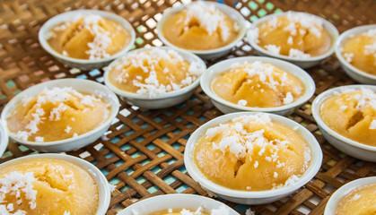 thai toddy palm cake sweet taste delicious.