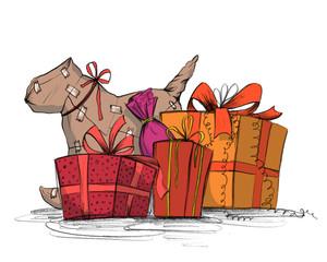Bunt eingepackte Geschenke zu Weihnachten oder Geburtstag