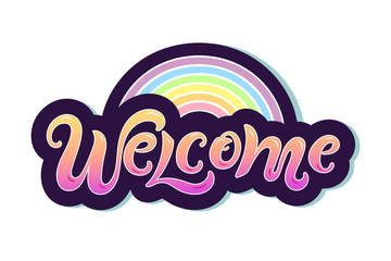 """Handwriting lettering """"Welcome"""" vector illustration. Welcome for logo, greeting card, badge, banner, invitation, tag."""