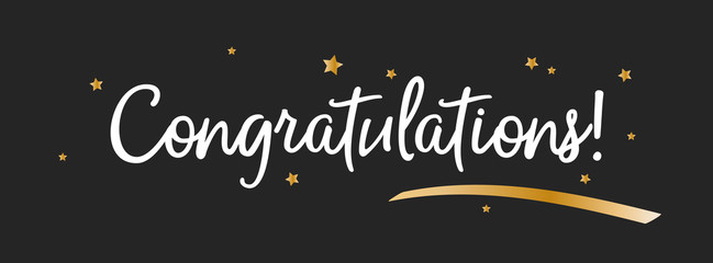 Congrats, Congratulations banner with golen decorations. Handwritten modern brush lettering dark background. Vector Illustration for greeting cards, banners and prints.
