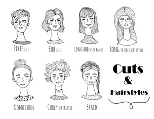 Hand drawn various hairstyles. Graphic vector set