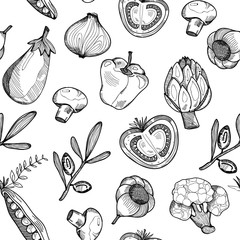 Hand drawn graphic vegetables. Vector seamless pattern