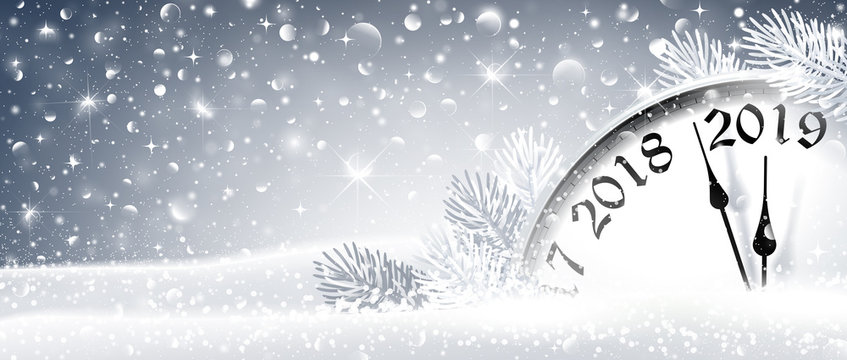 New Year's Eve 2019 Winter Celebration With Dial Clock. Vector Illustration