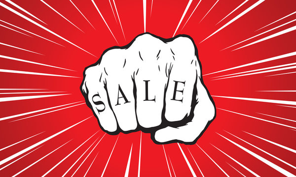 Punch fist with sale message