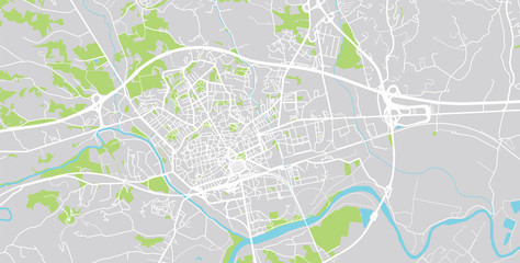 Urban vector city map of Asti, Italy