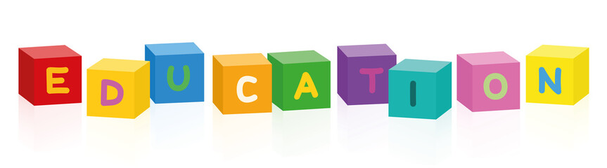 EDUCATION written with colorful letter cubes. Isolated vector illustration on white background.