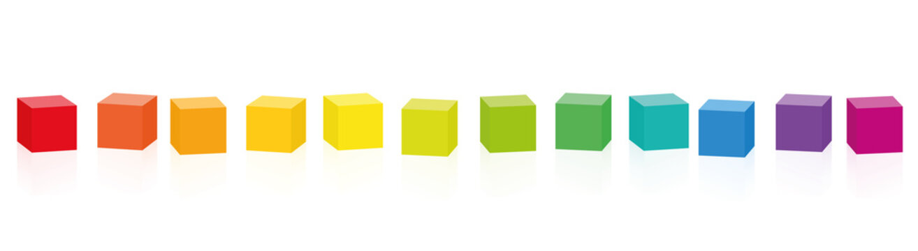 Colorful cubes. Set of 14 rainbow colored cubes in a row. Isolated vector illustration on white background.