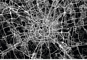 Urban vector city map of Milan, Italy