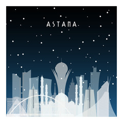 Winter night in Astana. Night city in flat style for banner, poster, illustration, background.