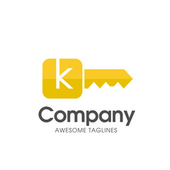 creative gold key color with letter k logo vector concept