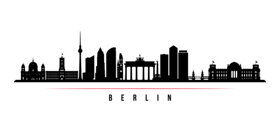 Berlin city skyline horizontal banner. Black and white silhouette of Berlin city, Germany. Vector template for your design.