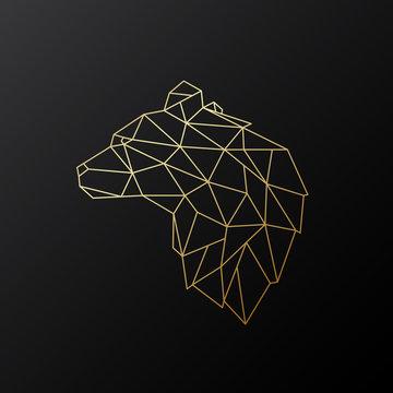 Golden polygonal Bear illustration isolated on black background. Geometric animal emblem. Vector illustration.
