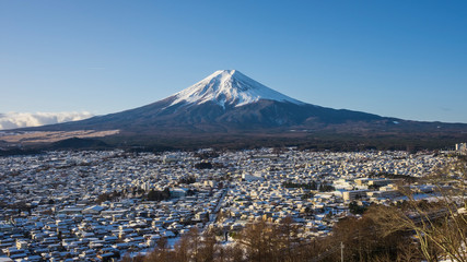 View of Fuji Mountain in winter, Yamanashi, Japan.
