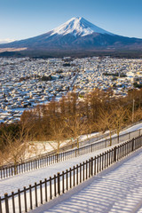View of Fuji Mountain in winter, Yamanashi, Japan.