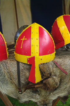 A Norman helmet with nose guard.