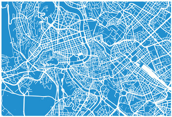 Urban vector city map of Rome, Italy