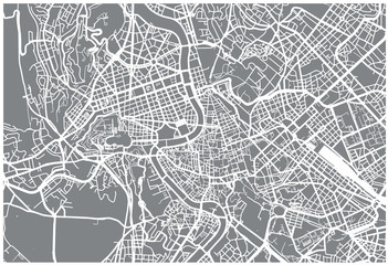 Urban vector city map of Rome, Italy