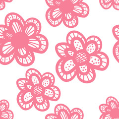Vector seamless hand drawn doodle floral pattern. Doodle flower background. Vector illustration.