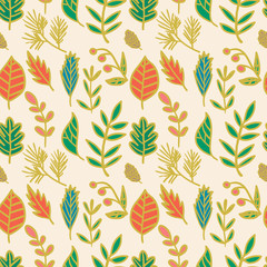 Vector seamless hand drawn doodle floral pattern. Foliage seamless pattern. Vector illustration.