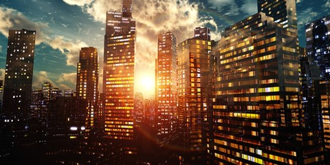 Modern city at sunset, panorama of the evening city, night city