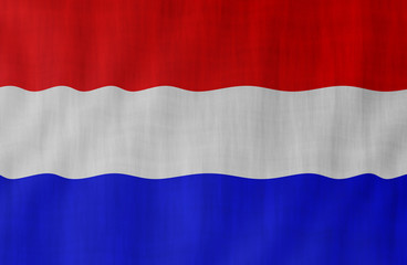 Illustration of a Dutch flag painted on the papier pasted on the woody wall