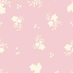 Pink Vintage Flowers Vector Repeat Pattern