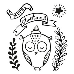 Christmas greeting card with owl