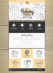 Bakery menu concept Web site design. Corporate identity.