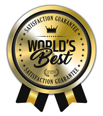 World's Best. Vector Golden Badge with Ribbons.