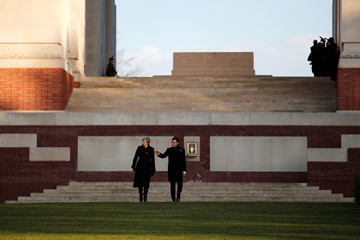 British Prime Minister Theresa May and French President Emmanuel Macron visit the Thiepval Memorial, in Thiepval