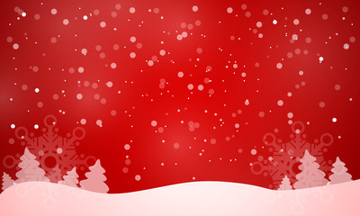 Elegant Christmas red background with snowflakes and place for text vector for any design