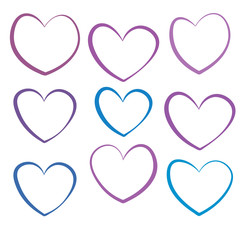 Linear hearts set isolated on white background. Vector illustration.
