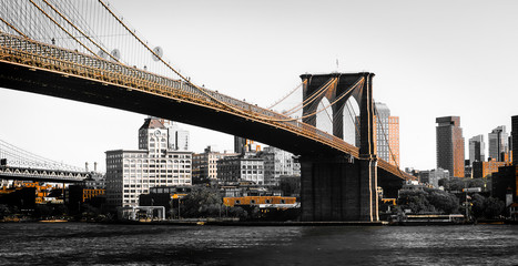 Artistic Shot Of The Brooklyn Bridge In New York In Two Tone Gold