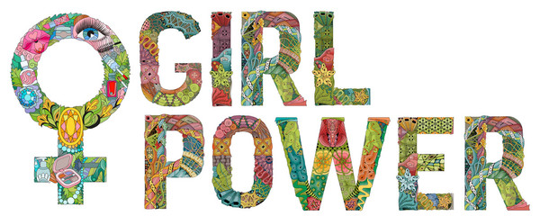 Words GIRL POWER with Symbol of Venus is a female floor sign with a pattern in tribal Indian style. Vector illustration
