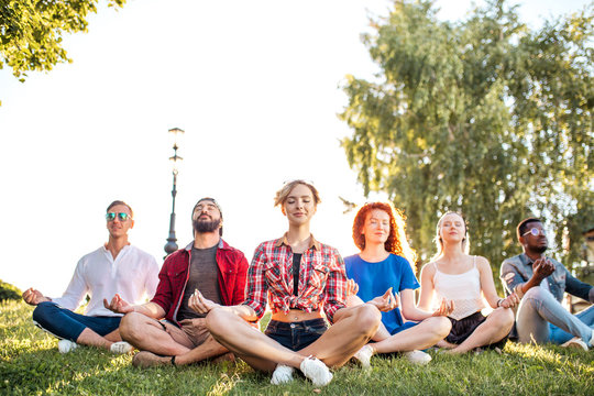 Diverse yoga class of cheerful young friends in summer casual wear sitting in lotus pose on green lown in the public park, front view with focus on beautiful blonde woman leading the group