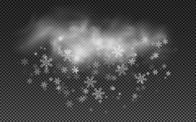 Wall Mural - Realistic cloud with snowflakes. Falling Christmas snow on a transparent background. Vector illustration