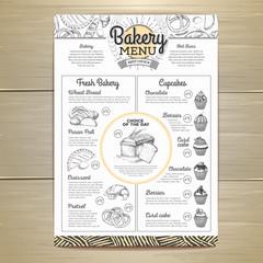 Vintage bakery menu design. Restaurant menu. Document template