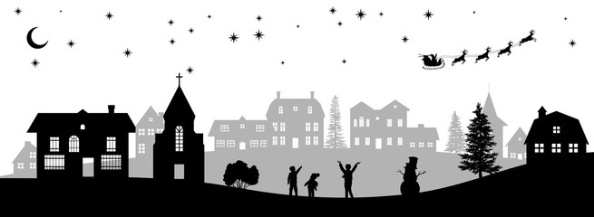 Black christmas panorama. Silhouettes of kids looking at Santa's sleigh. Celebration scene. Isolated village landscape. Holidays graphic